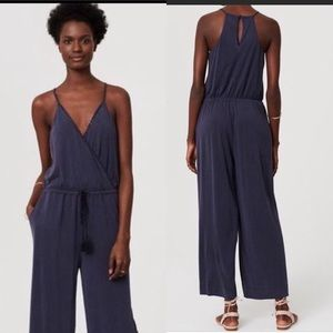 LOFT Beach Blue Cropped Romper